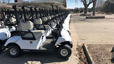 Golf carts at Yahara Hills Golf Course in Madison