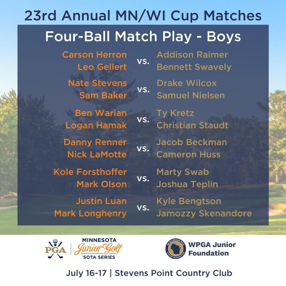 2020 Wisconsin/Minnesota Cup Matches | Boys Four-Ball Pairings