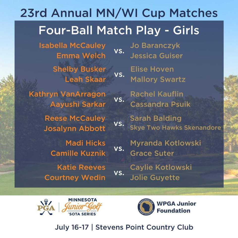 2020 Wisconsin/Minnesota Cup Matches | Girls Four-Ball Pairings