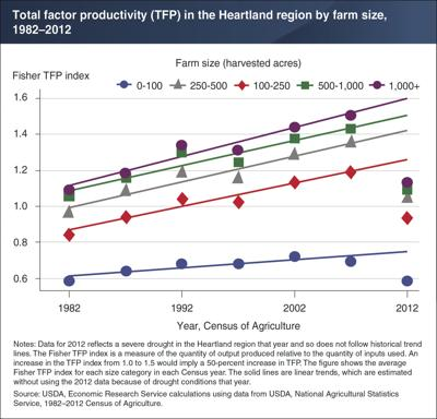 Productivity of farms increased over time