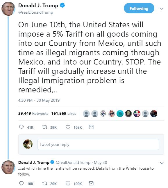 Trump Tweet: May 30 Mexican tariffs