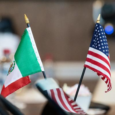 U.S. and Mexican flags