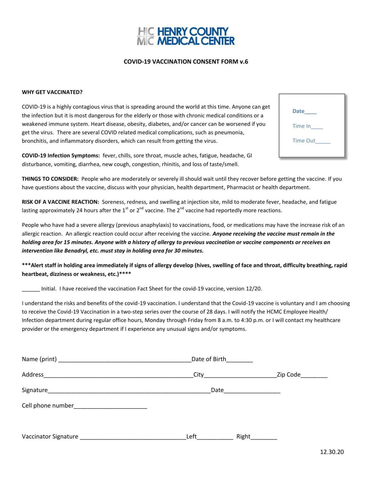 Henry County Medical Center COVID-19 vaccination consent form