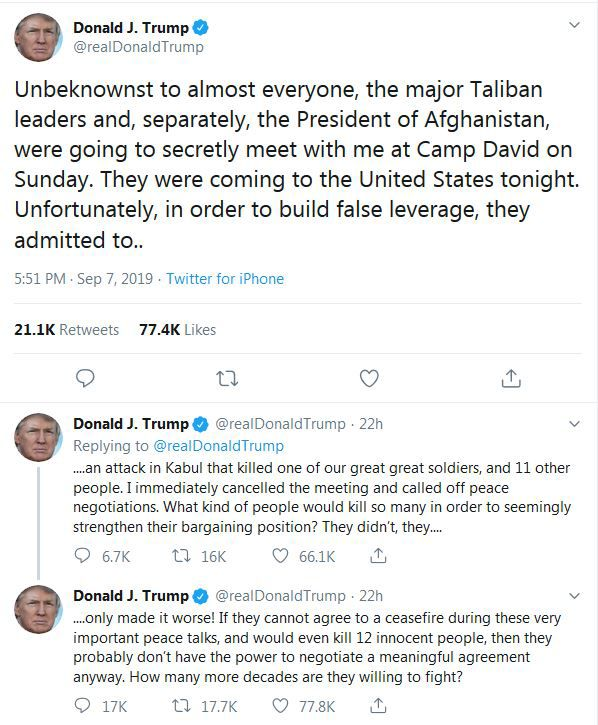 trump tweet about Kabul peace talks