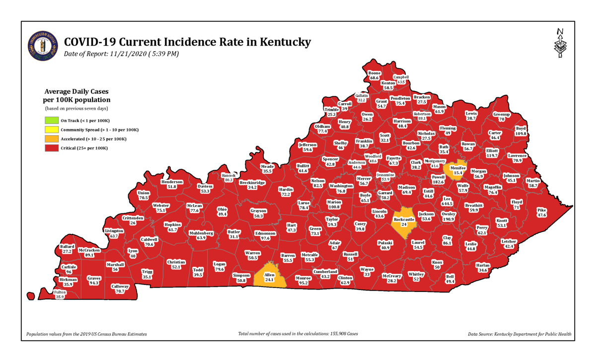 Kentucky Red Zone map 11.21.20