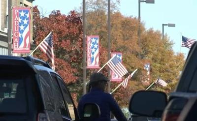 American flags downtown Paducah