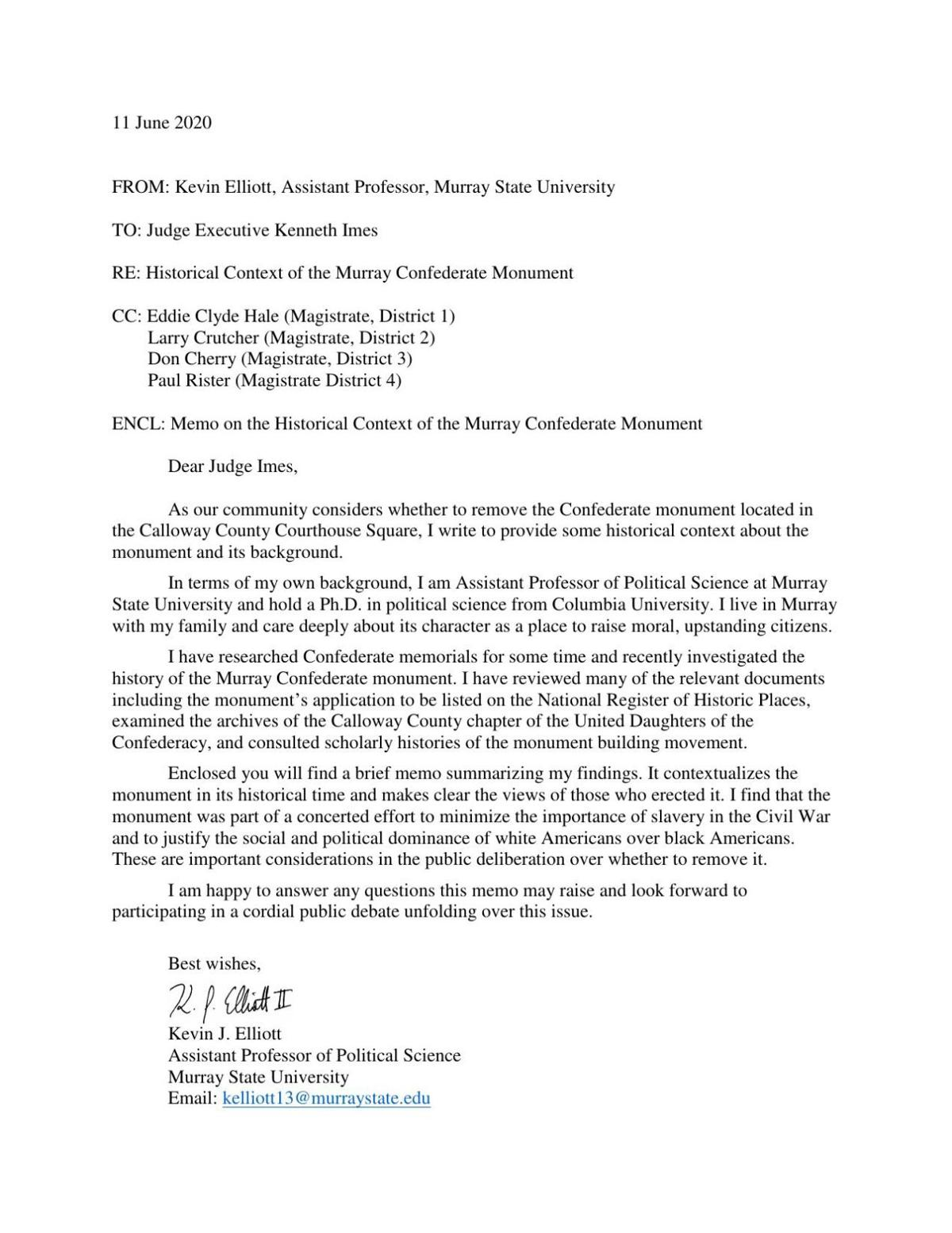 Kevin Elliot's letter on historical context of Confederate monument