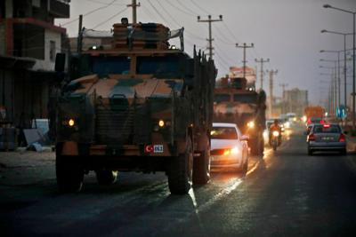 Convoy of Turkish forces vehicles **This image is for use with this specific article only**