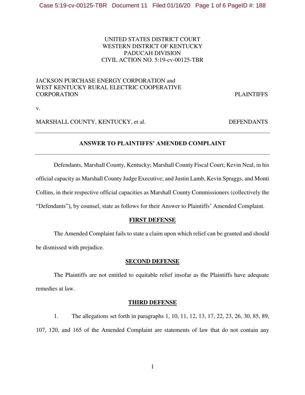 Marshal County 911 Lawsuit Response
