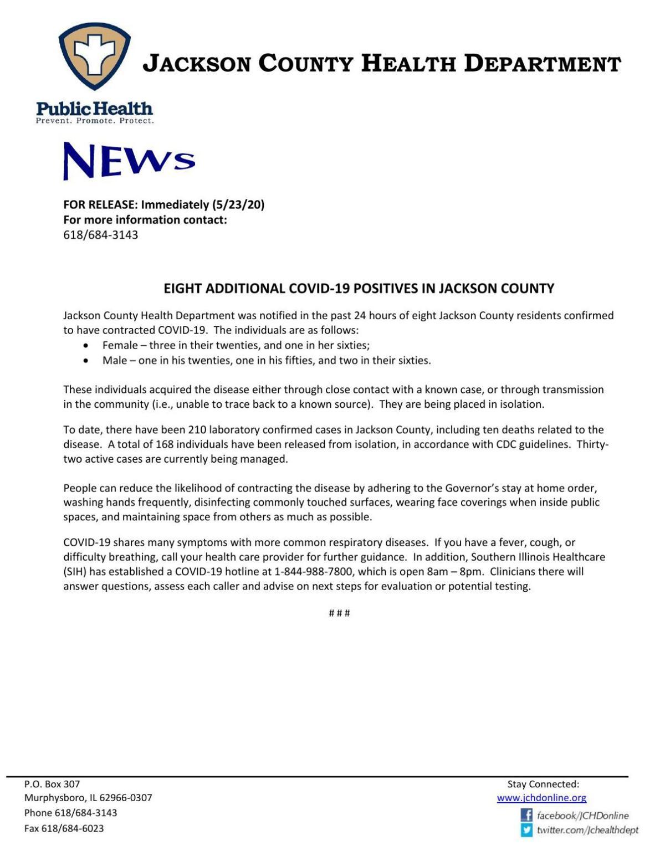 Jackson County COVID-19 news release 5/23