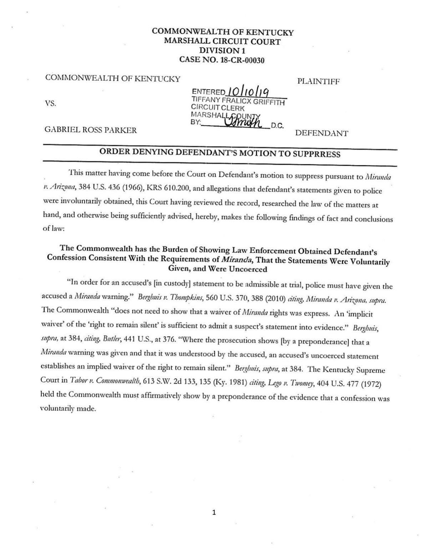 Order Denying Defendant's Motion to Suppress