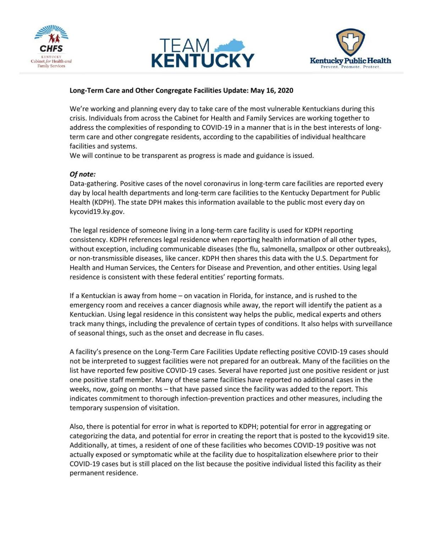 Long-term Care COVID-19 Update 5/17
