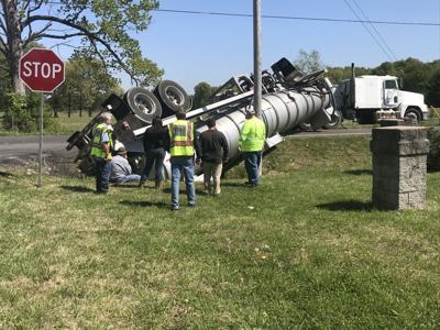 Overturned tanker Old Mayfield Road 4/22/21