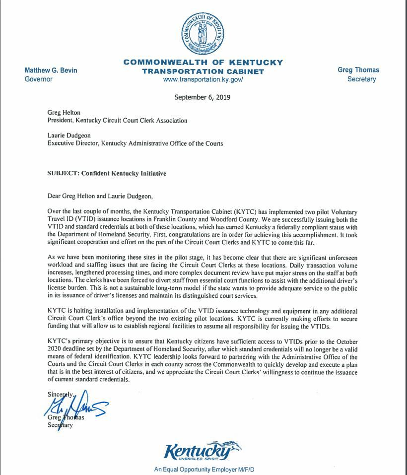 KYTC Letter on Real Ids