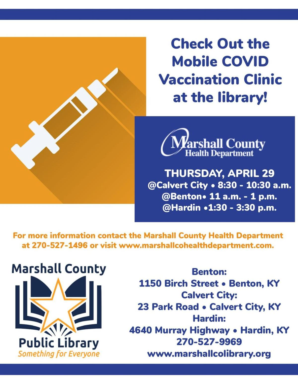 Marshall County Library COVID-19 vaccine clinic