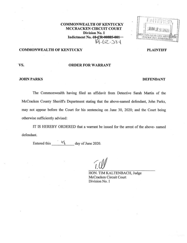 Order for Warrant - John Parks