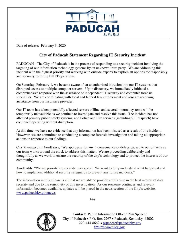 Paducah's Statement Regarding IT Security Incident