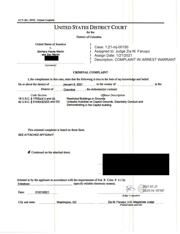 Zachary Martin FBI affidavit