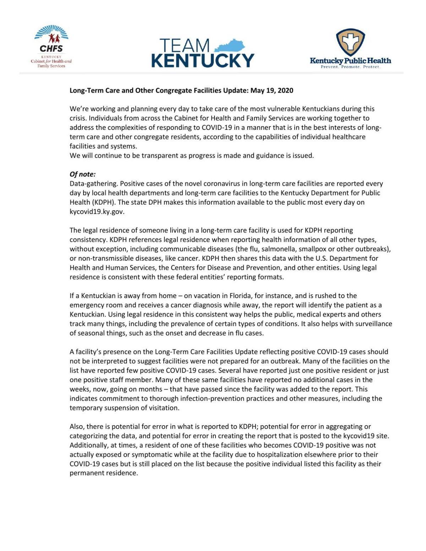 Long-term Care COVID-19 Update 5/20