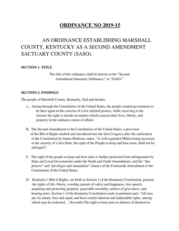 Marshall County Second Amendment ordinance