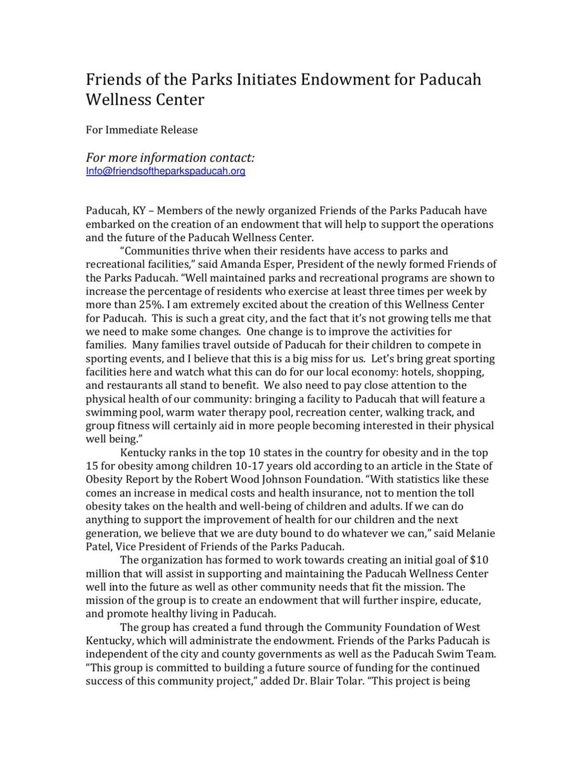 Friends of the Parks Initiates Endowment for Paducah Wellness Center