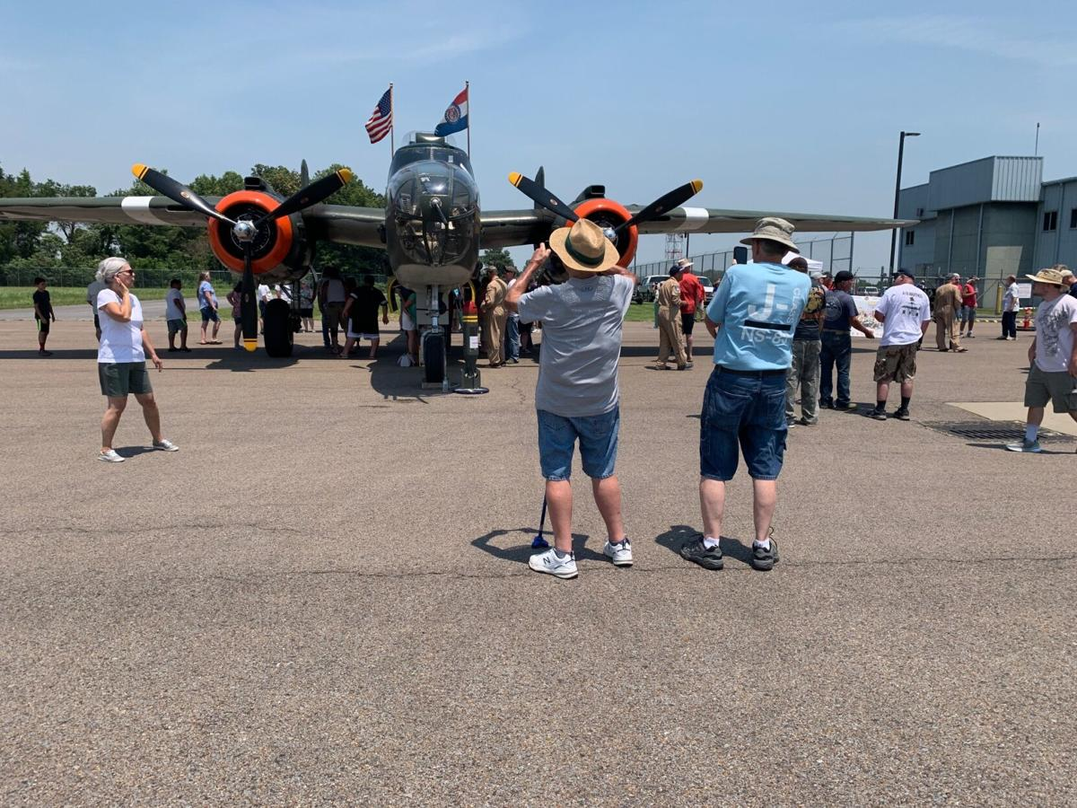 """Crowds gather to see the B-25, """"Show Me"""""""