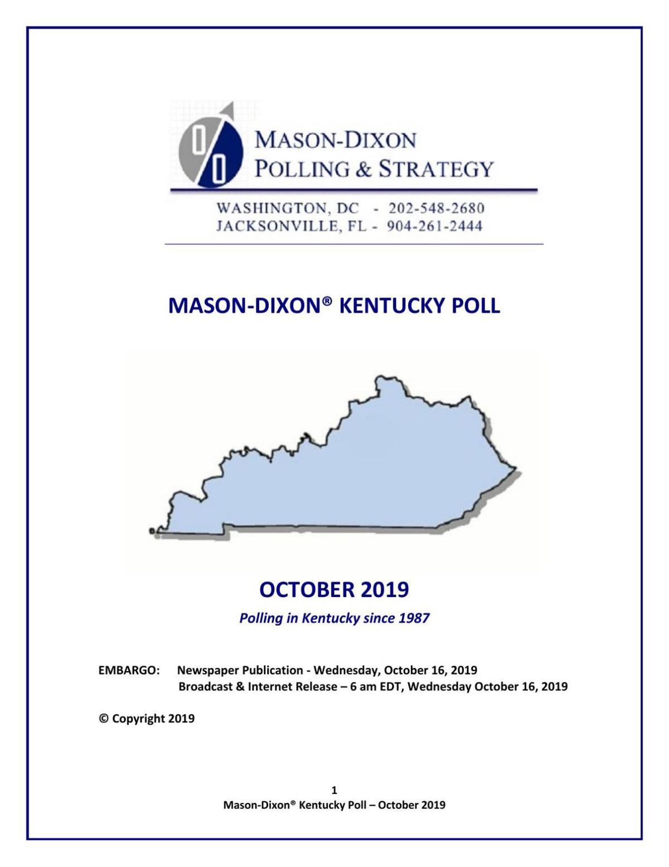 Mason-Dixon KY gov. poll Oct. 2019