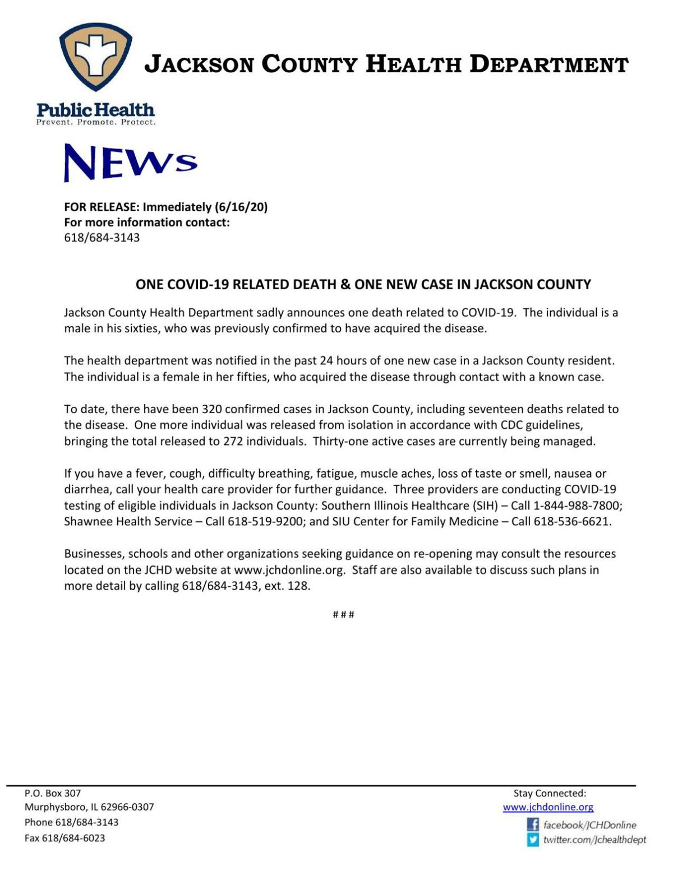 Jackson County COVID-19 news release 6/16