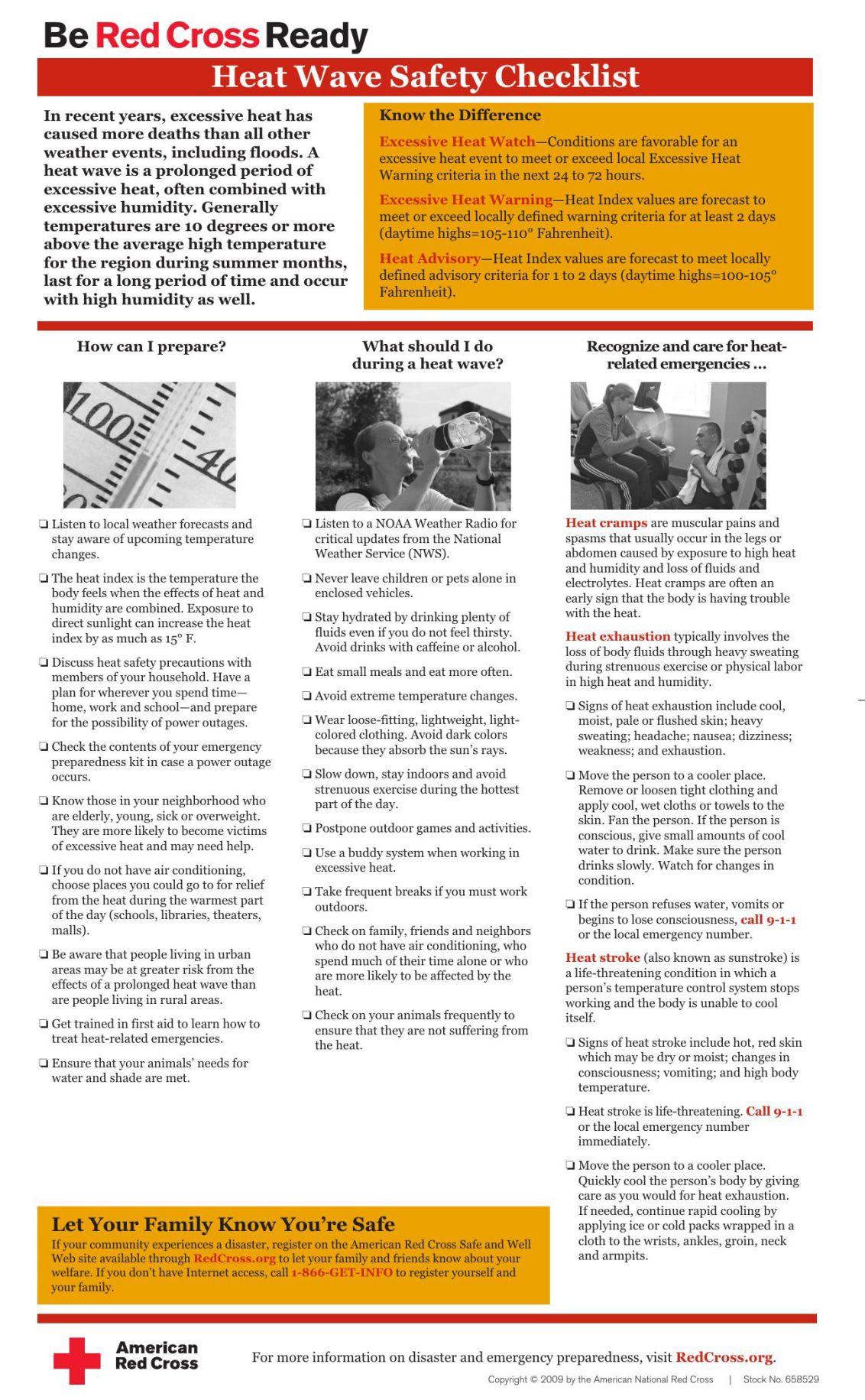 Heat Wave Safety Checklist