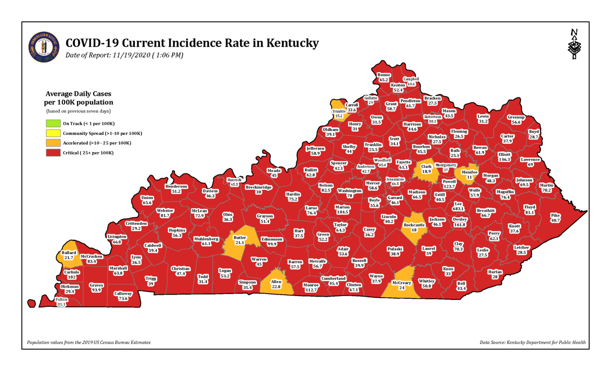 Kentucky COVID-19 red zone map 11/19/20