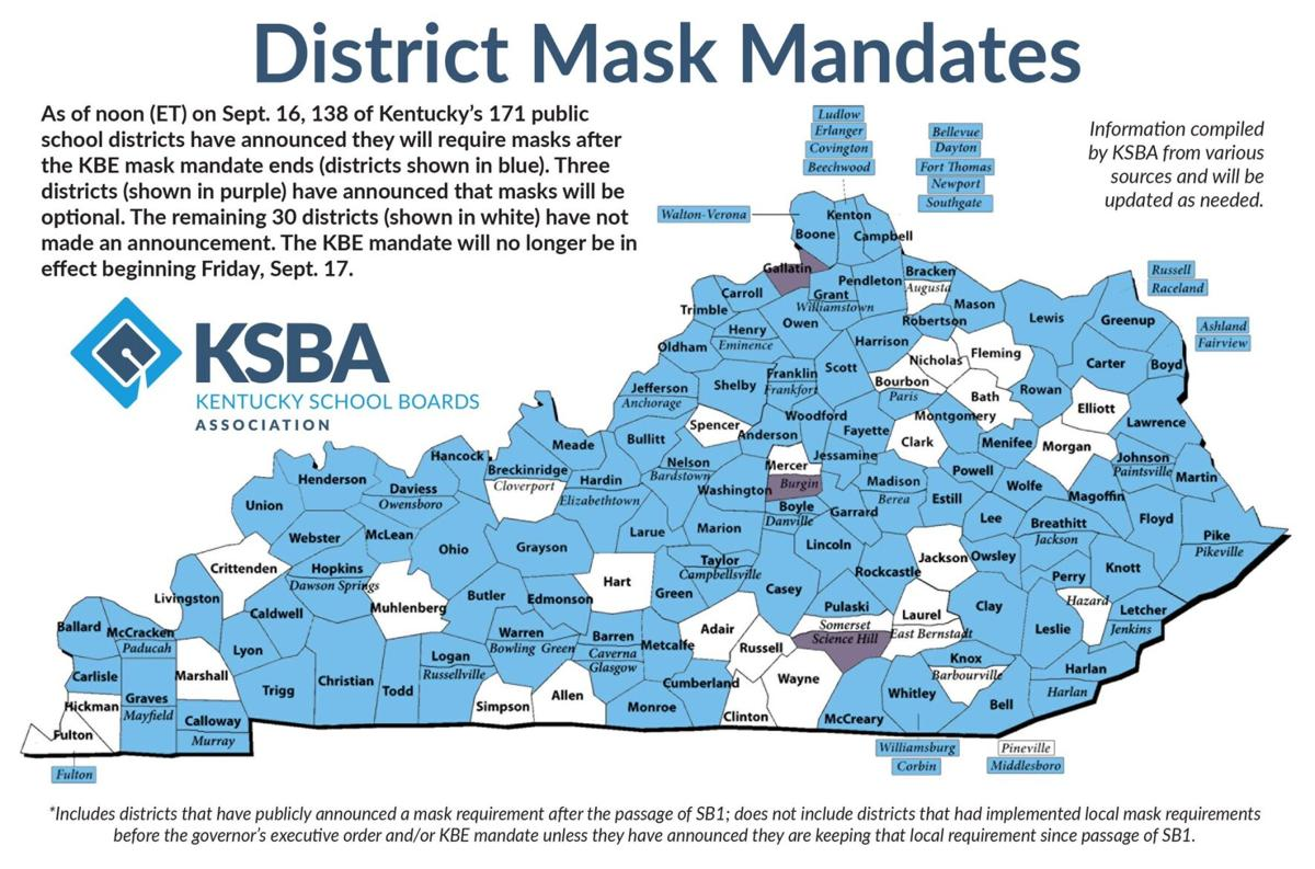 Schools requiring masks as of 9/16/21