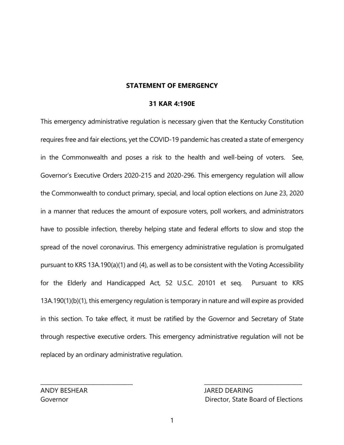 KY Primary SBE Covid19 Emergency Regulations