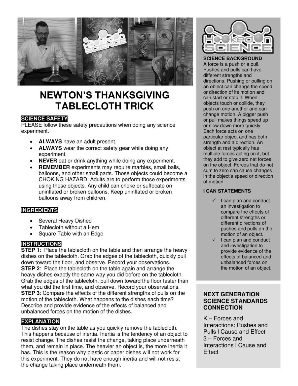 Newton's Thanksgiving Tablecloth Trick