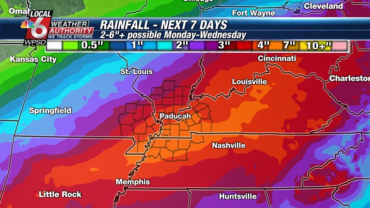 7 day rainfall totals