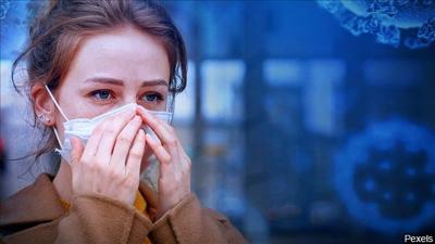 mask with coronavirus background COVID-19