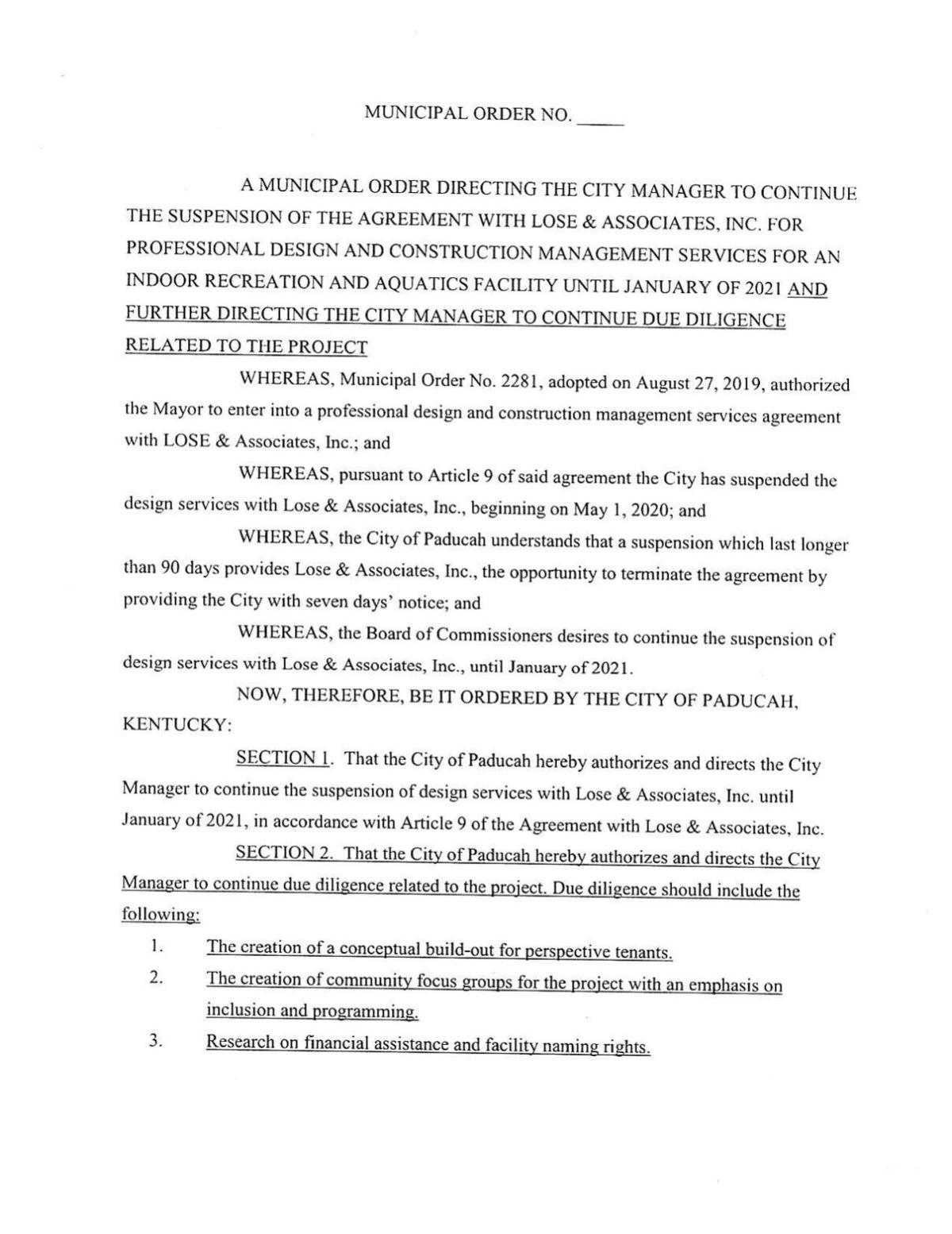 amended aquatic center ordinance