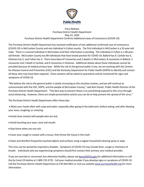 McCracken County COVID-19 news release 5/22