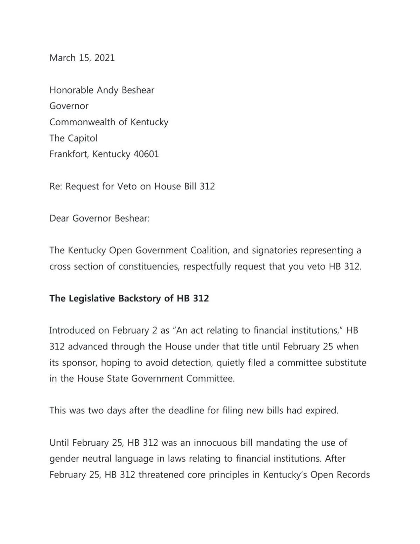 Letter urging Gov. Andy Beshear to veto Kentucky HB 312