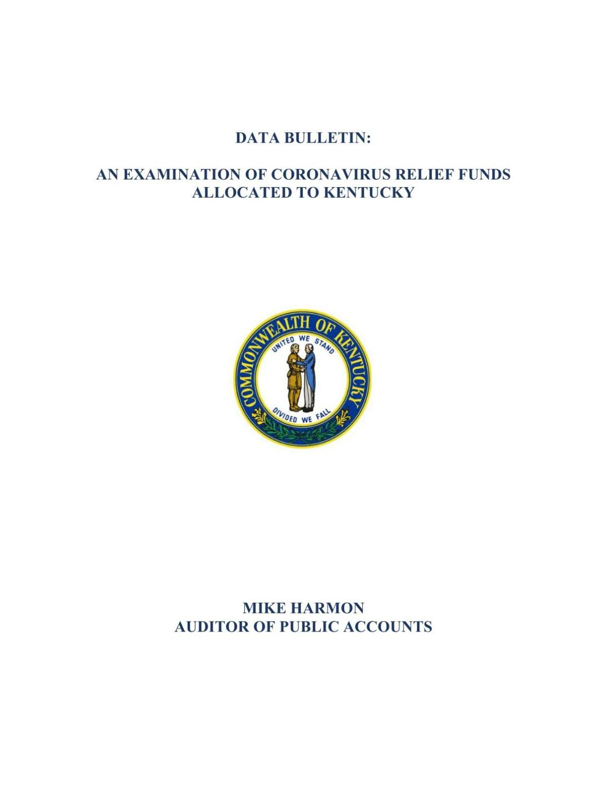An examination of Coronavirus relief funds allocated to Kentucky