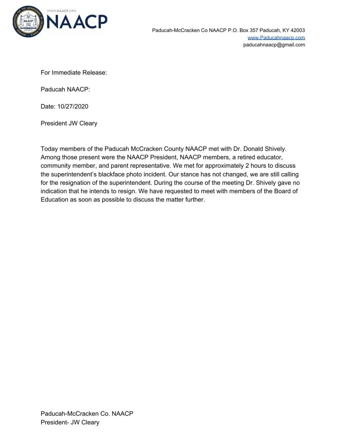 Paducah-McCracken County NAACP Shively meeting statement