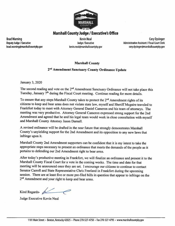 Marshall County second amendment memo