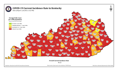 Kentucky red zone map 2/8/21