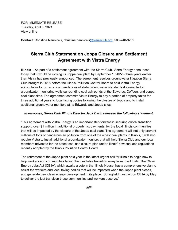 Sierra Club response