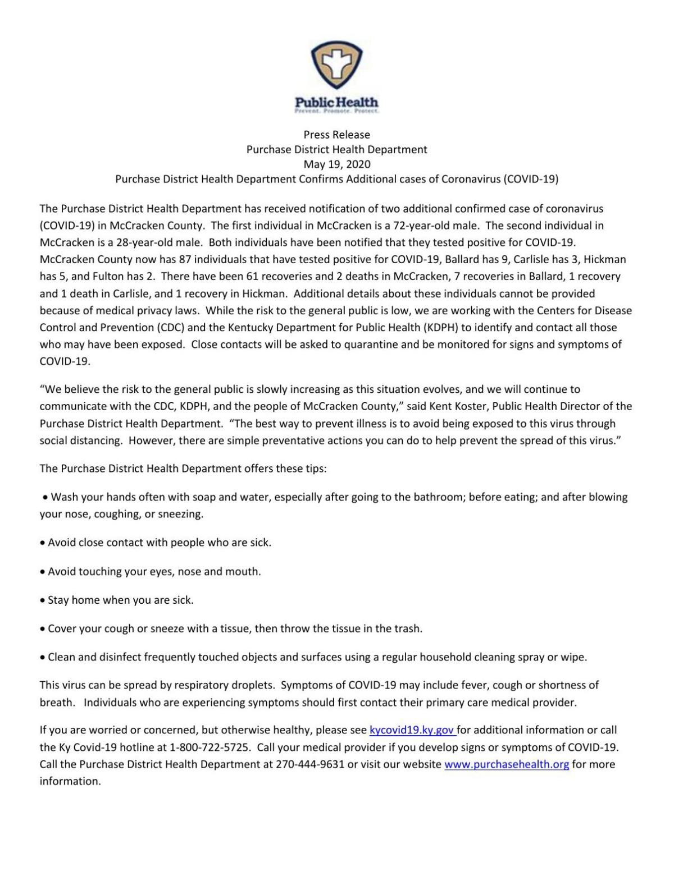 McCracken County COVID-19 cases 5/19