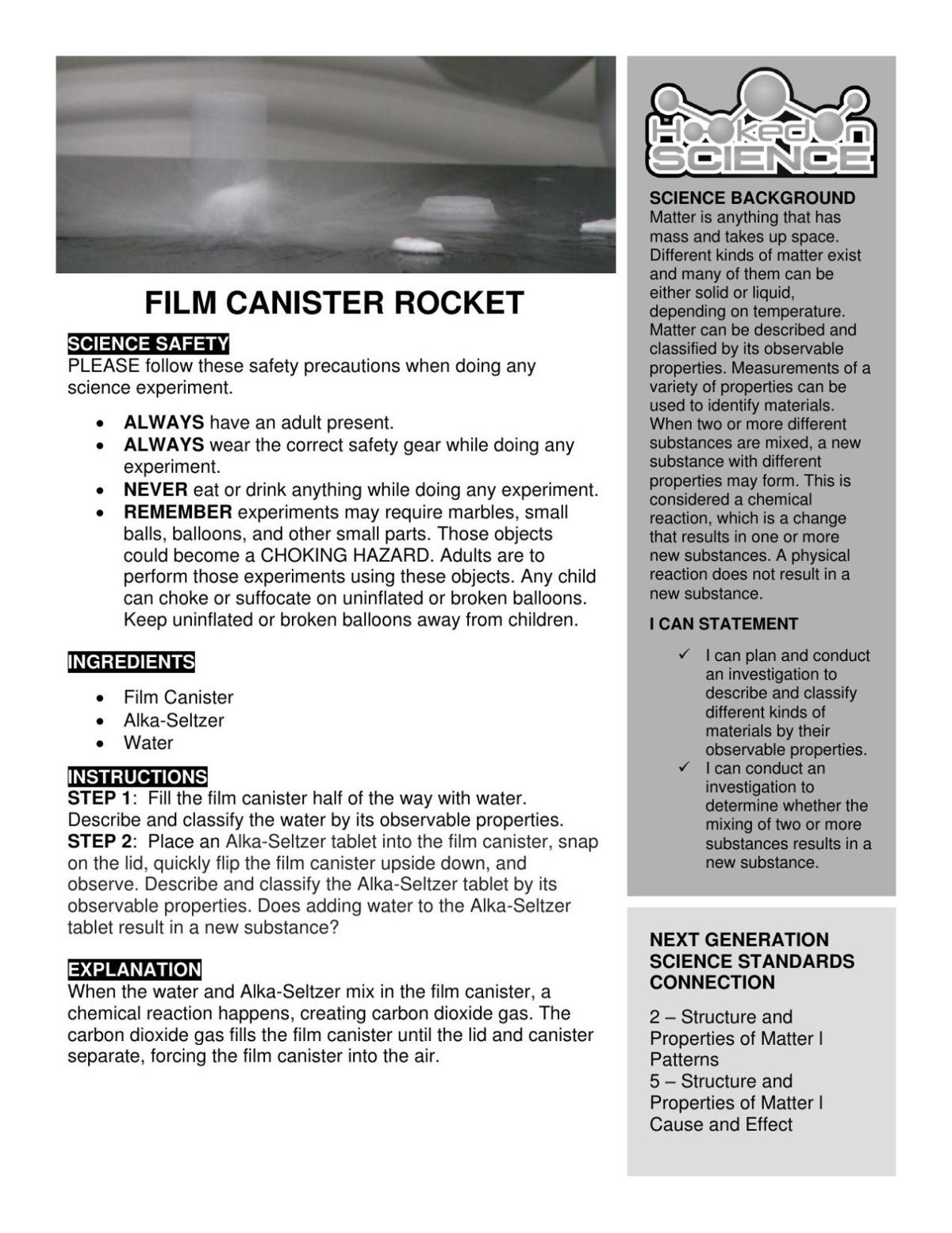 Hooked on Science: Film Canister Rocket