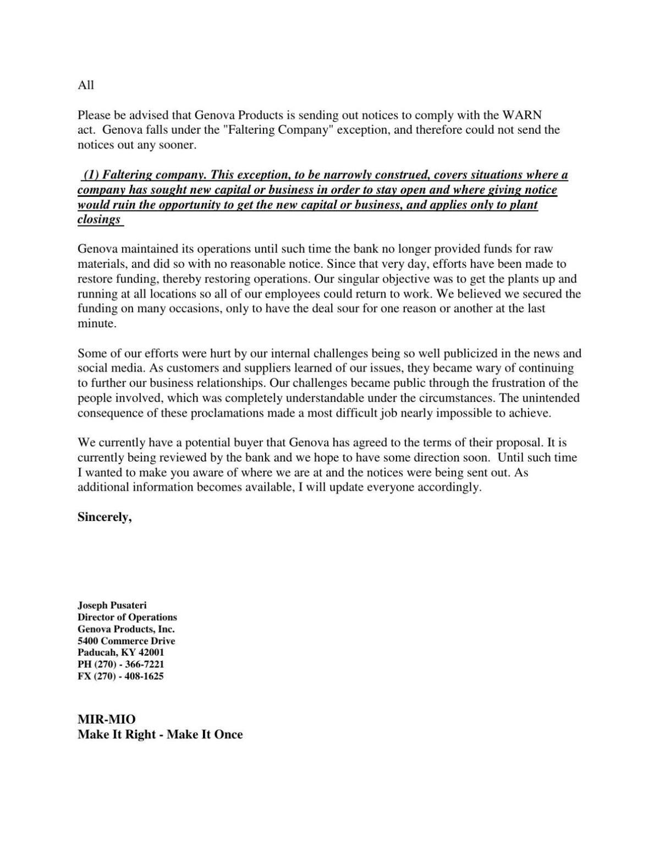 Genova notice