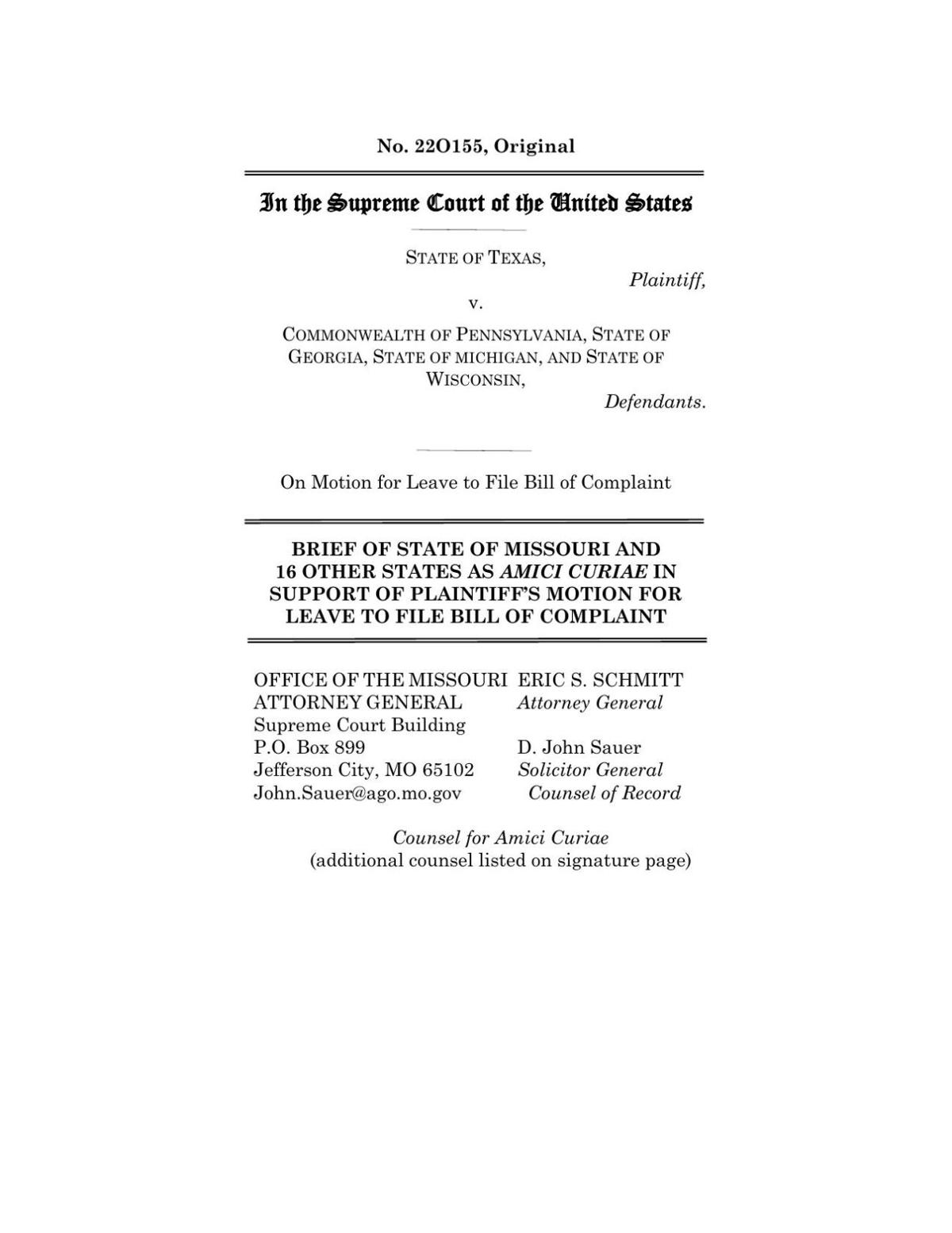 Missouri brief on vote counts SCOTUS