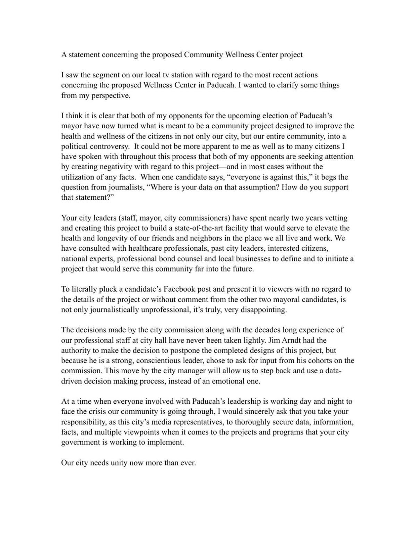 Mayor Brandi Harless Statement Concerning Community Wellness Project