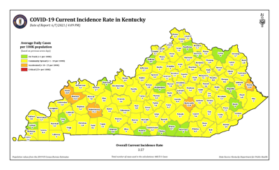Kentucky COVID-19 incidence rate map 6/7/21