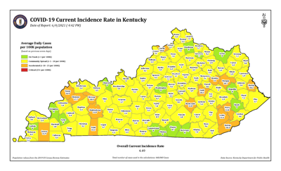 Kentucky COVID-19 incidence rate 6/4/21